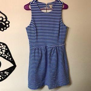 J. Crew Zip Back Blue and White Day Break Dress